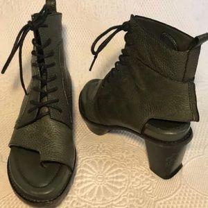 Alexander Wang olive green open toed booties